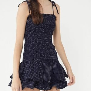 Urban Outfitters Navy polka dot smocked Dress XS